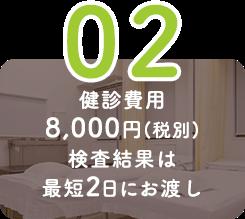 健診費用8,000円(税別)検査結果は最短2日にお渡し